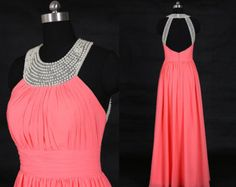 Coral Open Back Long Prom Dress/Chiffon Prom Dresses/Sexy Prom Dresses 2016/Formal Evening Dress/New Design Prom Dress WDD004