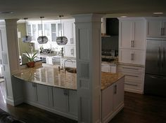 Kitchen island with columns @ Pin Your Home