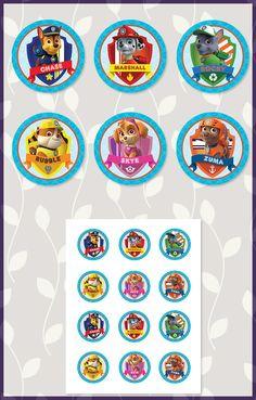 Free Paw Patrol Printables: Free Printable Paw Patrol Cupcake Toppers   Paw Patrol Stickers   Dark Paw Theme