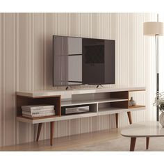 Midcentury Modern Manhattan Comfort Utopia Collection Mid Century Modern TV Stand With Open 3 Open Shelves and Two Open Cubbies, White/Wood Tv Furniture, Furniture Deals, Modern Furniture, Furniture Design, Furniture Stores, Furniture Outlet, Online Furniture, Furniture Buyers, Cheap Furniture