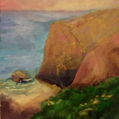 Cliff - More drama added to Attempt 2 Painting Workshop, Cliff, Oil On Canvas, Drama, California, Art, Art Background, Kunst, Dramas