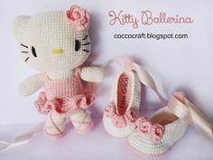 Free Crochet Pattern Hello Kitty ballerina Amigurumi and Baby Shoes