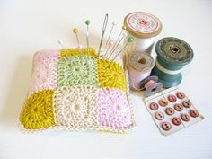 crochet pincushion Daisy  spring pastels with mustard by emmalamb