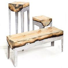 Bancs et table à empiètement d'aluminium incrusté sur bois. Studio Hilla Shamia, Tel Aviv.