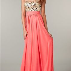 Coral Jeweled Long Strapless Dress A beautiful coral dress for prom, pageants, or military ball. The gown has a sweetheart neckline with gold and iridescent jewels. Dresses Strapless