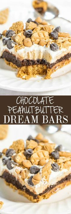 Chocolate Peanut Butter Dream Bars - Nutter Butter crust, chocolate pudding, and peanut butter cream cheese filling!! Easy, almost no-bake, and beyond AMAZING!! Lives up to their dreamy name!! Great for holiday parties!