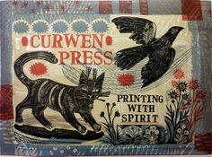 """Printing with Spirit"" by Mark Hearld, made to celebrate the 50th anniversary of the Curwen Press in 2008 (lithograph)"