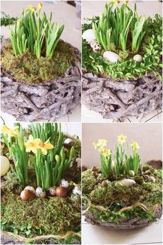 DIY Easter basket for your table Home Grown Vegetables, Growing Vegetables, Christmas Greenery, Christmas Diy, Mosses Basket, New Kitchen Doors, Greenery Wreath, Floral Foam, Flower Oil
