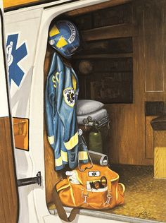 Firefighter/EMS Print by J Getsinger . Firefighter Images, Firefighter Home Decor, Firefighter Gifts, Paramedic Quotes, Ems Humor, Sheriff Badge, Volunteer Fire Department, Street Image, Pin Up Cartoons