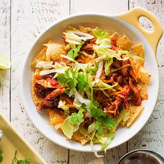 Chicken Enchilada Nacho Bowls.  Going camping this weekend.  Looks yummy and easy.  Prep at home.