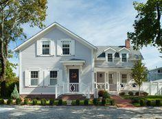 Cottage Exterior Colors, Exterior Paint Colors, White Shutters, Grey Houses, Home Renovation, Brick, Restoration, Mansions, Architecture