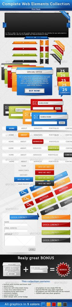 Complete Web Elements Collection - Pack1 by stefusilviu This is a great collection with web elements that you can use in your web projects. All graphics from this web elements collecti
