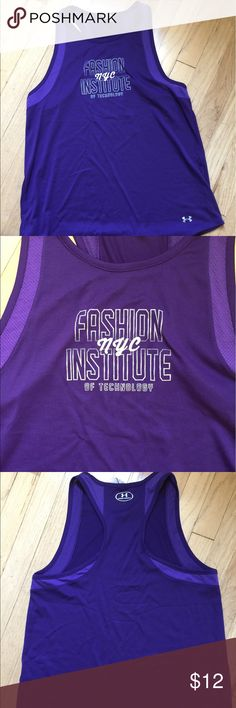 Under Armour tank purple FIT logo mesh panels NWOT New without tags Fashion Institute of Technology Under Armour racerback tank purple with white lettering Under Armour Tops Tank Tops