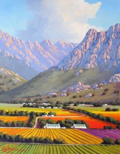 Willie Strydom - Hexriver Valley x Abstract Landscape Painting, Landscape Art, Landscape Paintings, Art Paintings, South Africa Art, School Painting, South African Artists, Pictures To Draw, Beautiful Landscapes