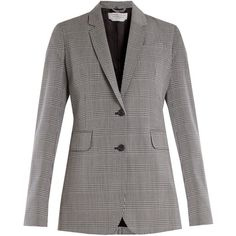 Gabriela Hearst Sophie checked stretch-wool blazer (146975 RSD) ❤ liked on Polyvore featuring outerwear, jackets, blazers, light grey, draped blazer, draped jackets, checked blazer, checked jacket and light grey blazer