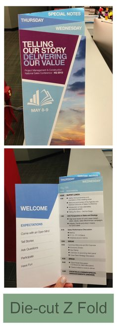 Die-cut Z folds are best used for trade shows and booth handouts.