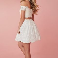 Charming prom dress, two piece prom dress, lace evening dress, short homecoming dress, sexy prom gowns