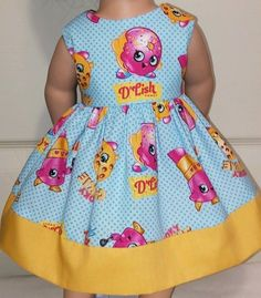 Doll Clothes/Handmade/18 Inches/American Girl Dolls/Shopkins and Mustard Dress.