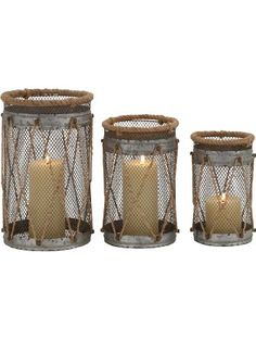Deco 79 Metal Rope Candle Holder, 11 by 9 by 8-Inch, Set of 3 ❤ Deco Seventy-Nine