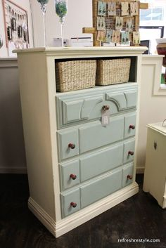 Dresser with baskets as top drawers. Great for organizing and adding interest to a piece. (or replacing broken or missing drawers!)