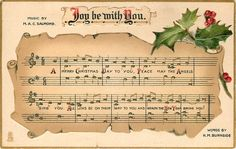 Joy be with You ~ music, holly & berries