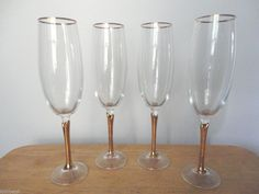"NEW! Bohemia Czech. ""COLONY"" SET OF 4 Versailles Champagne Fluted Stemware #Colony"
