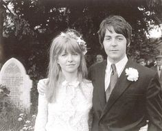 Paul McCartney and Jane Asher in Caerog, North Wales during the wedding of his brother Mike McGear, 1968