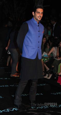 Zayed Khan went traditional in a blue Nehru jacket worn with black kurta, pyjama.  (Photo: Varinder Chawla)