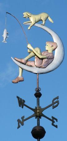 Boy on Moon Weathervane-Portrait - West Coast Weathervanes West Coast Weather, Blowin' In The Wind, Door Knobs And Knockers, Weather Vanes, Water Tower, Wind Power, Yard Art, Rooftop, Folk Art
