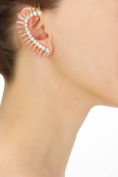 Gold plated spiked earcuff with crystal stud earring set  by Bansri. Shop now: www.perniaspopups.... #earring #cute #designer #bansri #pretty #accessory #shopnow #perniaspopupshop #happyshopping