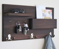 Coat Rack with Floating Shelf and Key Hooks