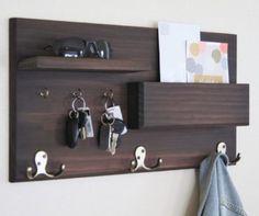 Coat Rack with Floating Shelf and Key Hooks