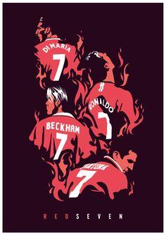 Manchester United Number Sevens, Cantona, Beckham, Ronaldo, Di Maria Manchester United Team, Manchester United Wallpaper, Best Football Team, Football Art, Football Fever, Football Icon, Barcelona E Real Madrid, Barcelona Soccer, Pier Paolo Pasolini