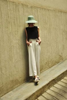 Long wide legged ankle length high waist trousers