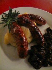 Pork bangers with parsnip mash Mashed Parsnips, Purple Rain, Sausage, Pork, Meat, Cake, Humor, Kale Stir Fry, Sausages