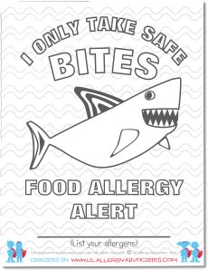 "I have to ""BEE"" careful, food allergy alert coloring pages. Free ..."