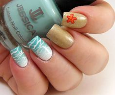 beach nail art sand and waves