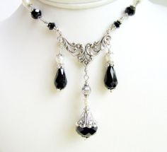 Victorian Choker Necklace Black Crystal Necklace by TwigsAndLace, $55.00