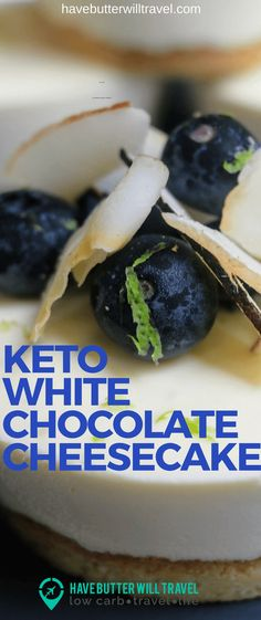 Keto White Chocolate Cheesecake - Have Butter Will Travel - Low Carb Recipes Sugar Free Desserts, Low Carb Desserts, Low Carb Recipes, Low Carb Cheesecake, Cheesecake Recipes, Dessert Recipes, Dessert Ideas, Lunch Recipes, Cookie Recipes