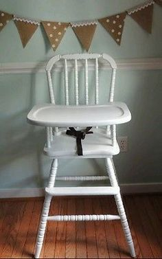Refinished-Jenny-Lind-Wooden-Highchair-Wood-Vintage-High-Chair-New-White-Paint