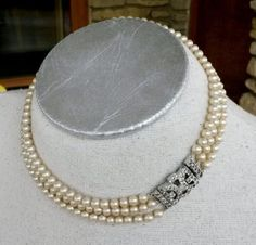 Vtg-1950s-3-Strand-Glass-Pearl-Choker-Necklace-Silver-Tone-Paste-RS-Clasp