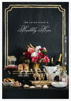 Brilliant - 100 Layer Cake's Bubbly Bar   CHECK OUT MORE GREAT BLACK AND WHITE WEDDING IDEAS AT WEDDINGPINS.NET   #weddings #wedding #blackandwhitewedding #blackandwhiteweddingphotos #events #forweddings #iloveweddings #blackandwhite #romance #vintage #blackwedding #planners #whitewedding #ceremonyphotos #weddingphotos #weddingpictures