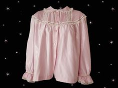 Plus Size Vintage Nylon Satin Bed Jacket - Pink Barbizon Cuddleskin Winter Bedjacket - Large by LunaJunctionVintage on Etsy
