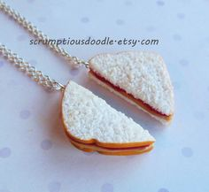 strawberry jam peanut butter and jelly sandwich best friend necklaces polymer clay bff from ScrumptiousDoodle on Etsy. Bff Necklaces, Best Friend Necklaces, Best Friend Jewelry, Friendship Necklaces, Cute Necklace, Best Sandwich, Cute Charms, Mini Things, Strawberry Jam