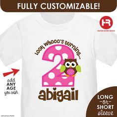 Look Whoo's Turning 2 Owl Birthday Shirt by HeatherRogersDesigns, $16.50