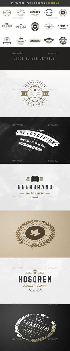 15 Retro Vintage Logotypes or Badges #logo #design Download: http://graphicriver.net/item/15-retro-vintage-logotypes-or-badges/10797076?ref=ksioks