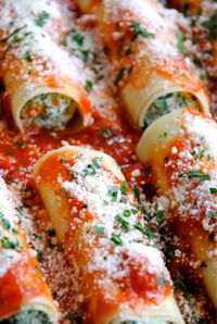 Ricotta & Spinach Manicotti... made with lasagna noodles