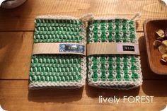 北欧風レトロ模様のアクリルたわし 2個set green①|その他キッチン小物|lively FOREST|ハンドメイド通販・販売のCreema