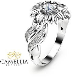 Etsy Natural Diamond Sunflower Engagement Ring 14K White Gold Sunflower Ring Solitaire Diamond Ring Unique #ad