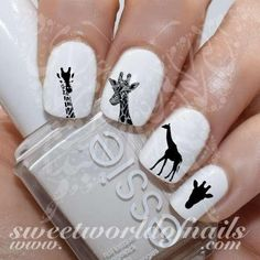 Giraffe Nail Art Silhouette Nail Water Decals Slides 20 mix water decals on a clear water transfer which can be applied over any color varnish on either your na